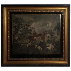 Early 19th Century English School Hunting Scenes in Eglomise and Gilt Frames