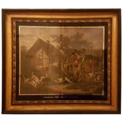 Early 19th Century English School Hunting Scenes in Églomisé and Gilt Frames