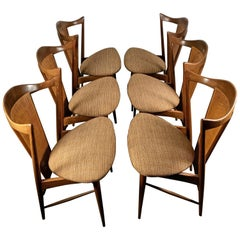 Stunning Set of 6 Modernist Walnut and Cane Sculptural Dining Chairs