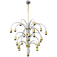 Midcentury Italian Chrome and Brass Chandelier by Sciolari, circa 1960