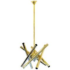 Midcentury Italian Brass Chandelier by Sciolari, circa 1960
