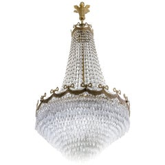 Antique Bronze and Crystal Chandelier, circa 1930