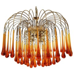 Midcentury Murano Glass Drops Chandelier Style Venini, Italy, 1960s