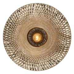 Large and Round Rattan Wall Light