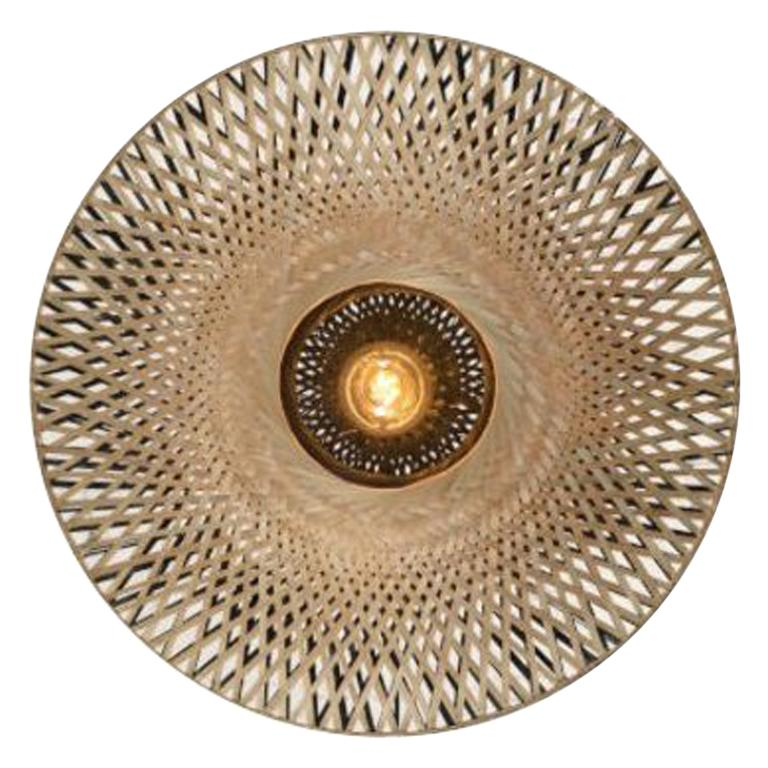 Large and Round Rattan Wall Light For Sale
