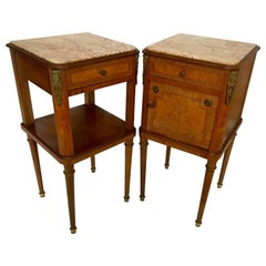 Antique Pair, Napoleon Style Kingwood & Marble Inlaid Bedside Tables or Cabinets