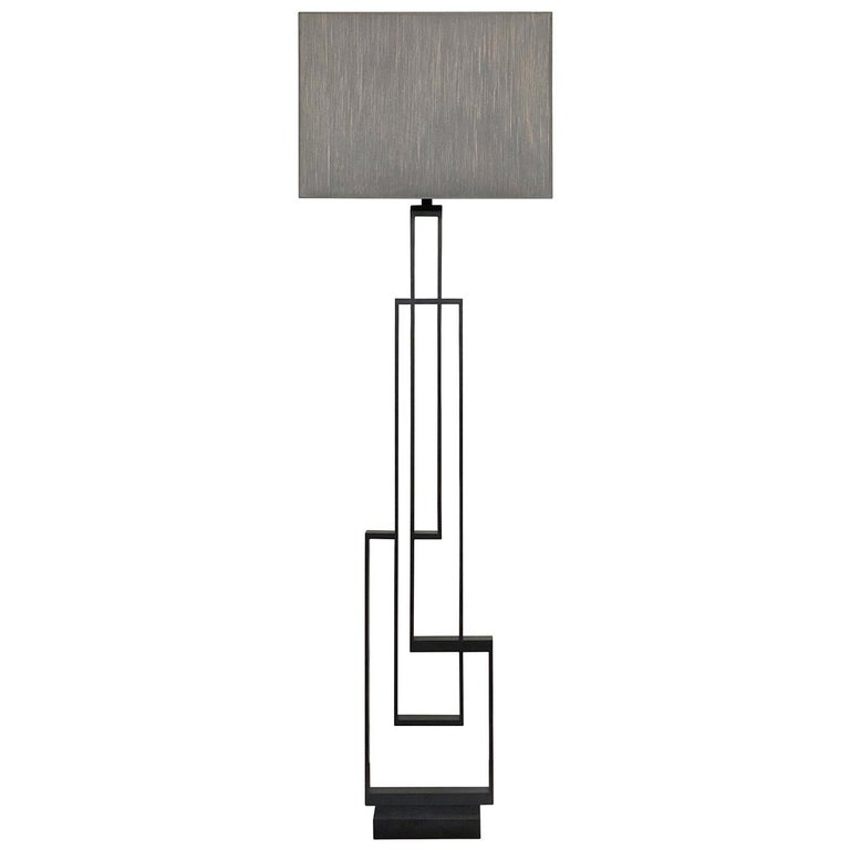 "Contemporary Handcrafted Geometric Floor Lamp ""Ilios"" in Brass and Marble For Sale"