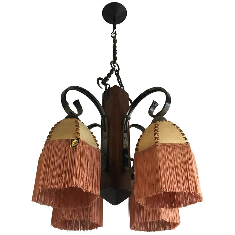 Rare Wrought Iron And Wood Pendant Light Fixture With Leather Shades Fringes