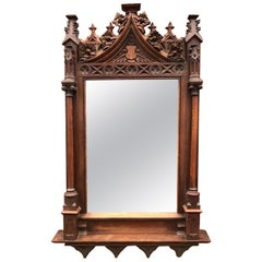 Stunning & Good Size 19th Century Hand Carved Oakwood Gothic Revival Wall Mirror
