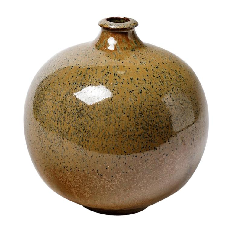 Stoneware Glazed Ceramic Vase circa 1980 French Handmade For Sale
