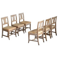 Set of Six Danish Country-Style Dining Chairs in Elm and Natural Leather