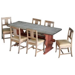 French Country Style Dining Table Set in Oak, Made in Denmark, circa 1900