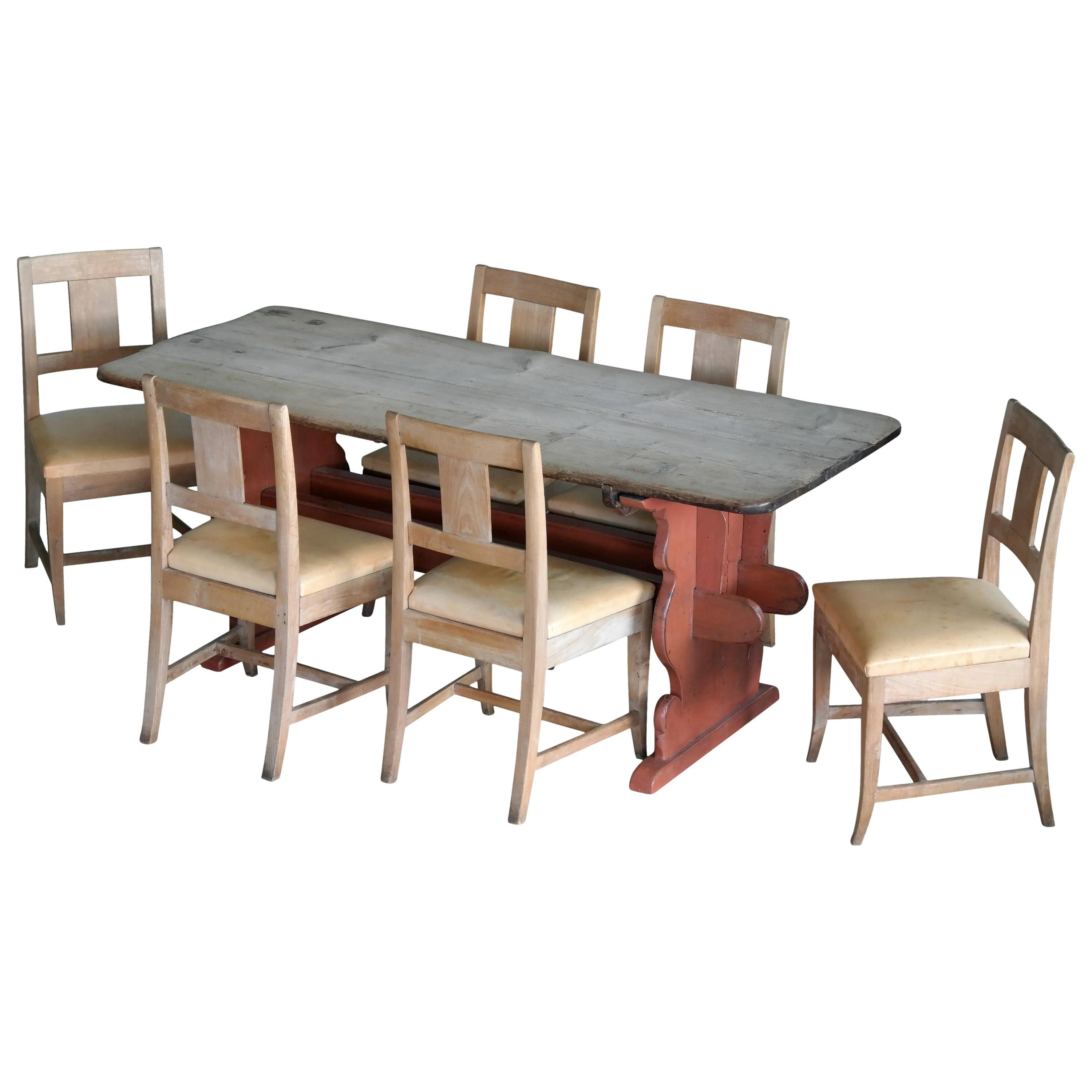 French Country Style Dining Table Set In Oak, Made In Denmark, Circa 1900  For