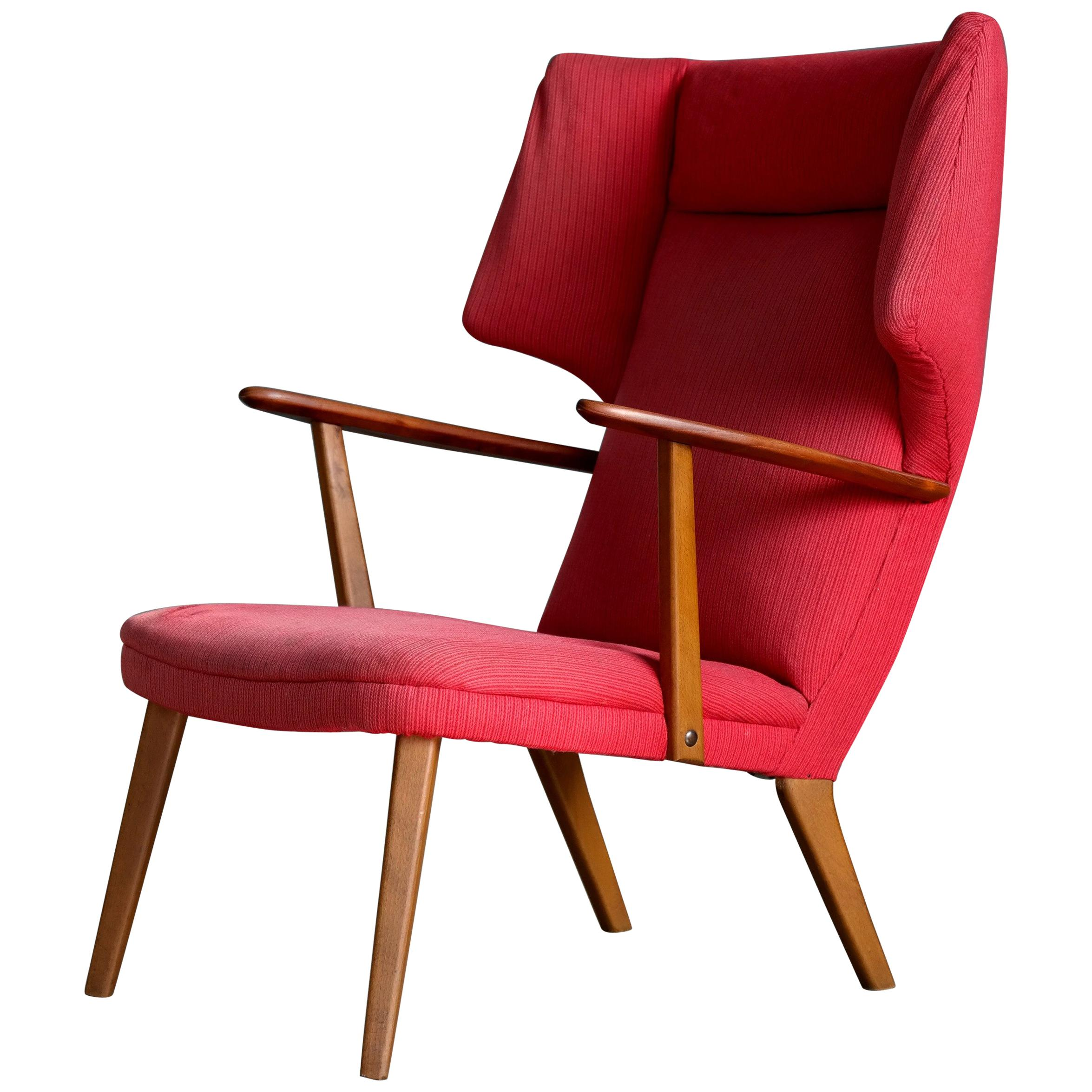 Danish 1950's Madsen and Schubell High Back Lounge Chair in Teak and Oak