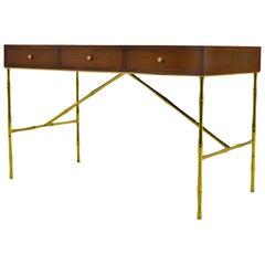 Kipp Stewart Desk with Brass Bamboo Form Legs by Directional