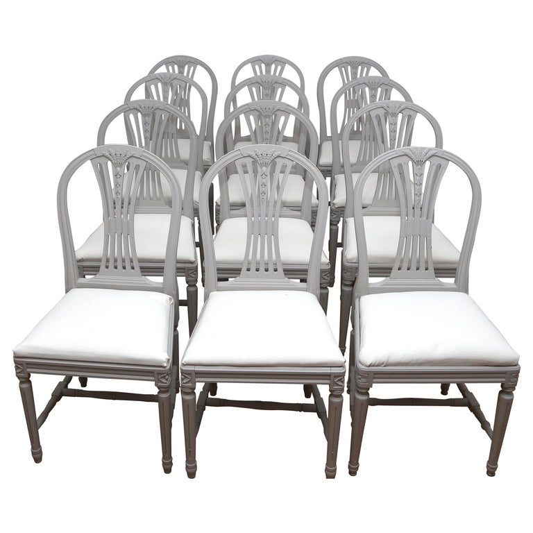 27cb0598712c7 Swedish Gustavian Style Dining Chairs in Light Grey (12) For Sale. Set of  12 antique ...