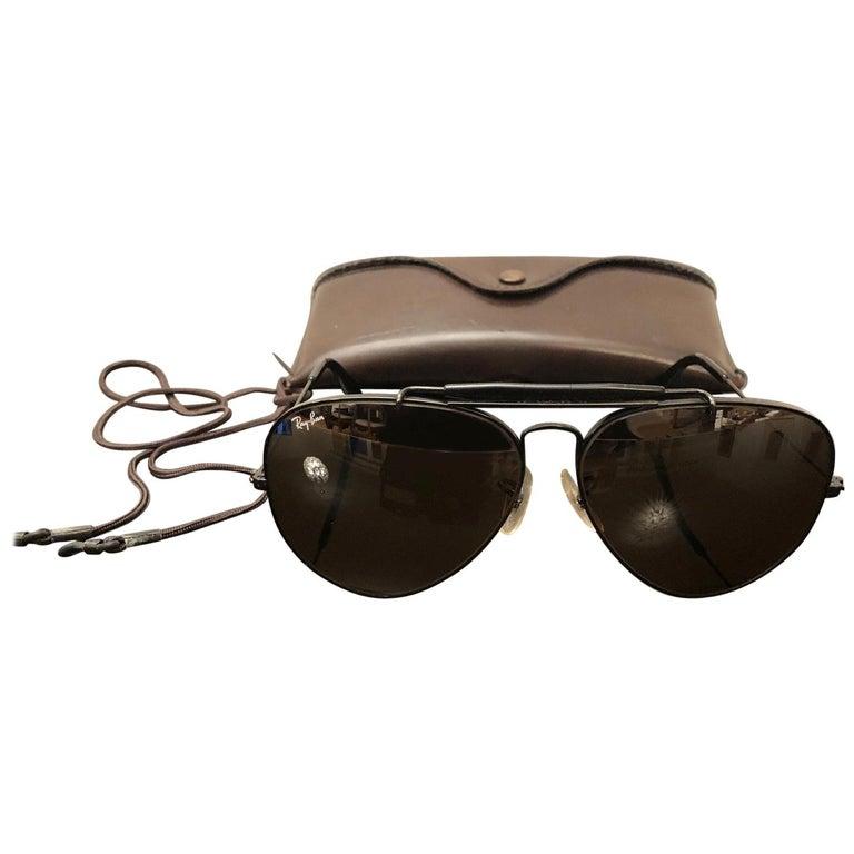 Sunglasses Ray Ban Aviator Black Outdoorsman B 15 B L Usa 1980s