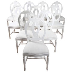 16 Swedish Gustavian Style Dining Chairs with Oval Backs