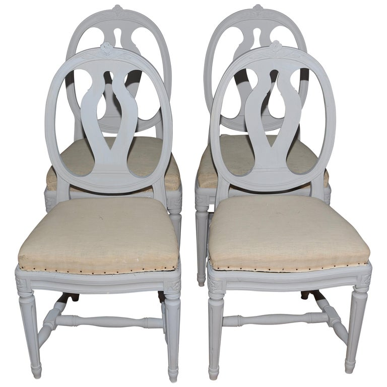 1d89a7231436c Swedish Gustavian Style Painted Dining Chairs  4  For Sale at 1stdibs