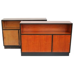 Pair of 1940s Italian Cherrywood Doublesides Cabinets or Bookcases