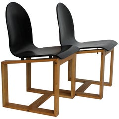 Pair of Mid-Century Italian Chairs, Cubic Wood Structure and Curved Seat,1970s
