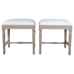 Pair of Swedish Gustavian Foot Stools, 19th Century