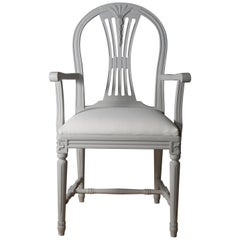 Swedish Gustavian Armchair, Light Grey