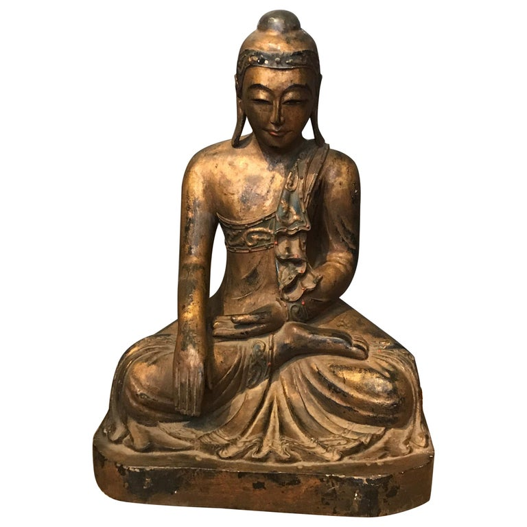 Late 19th Century Hand Carved Thai Buddha For Sale