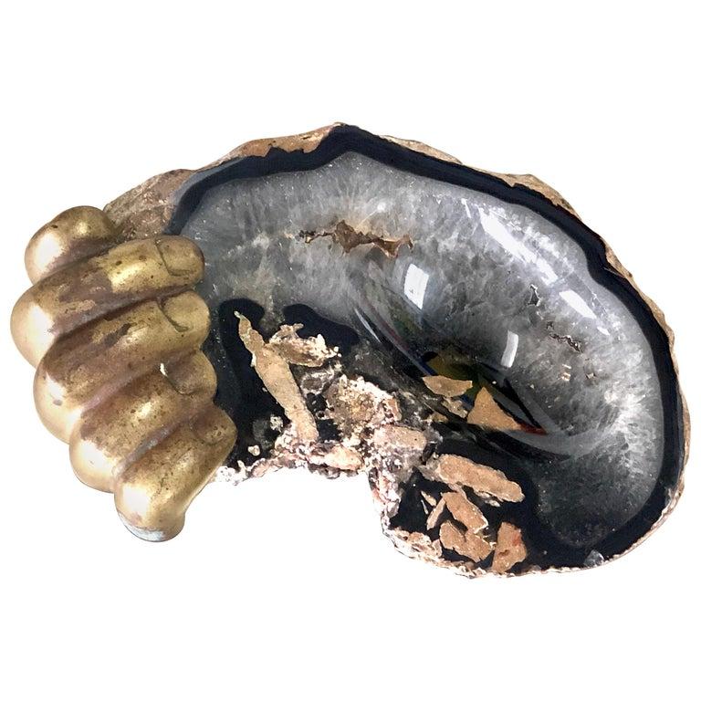 Pietrina Checcacci Bronze and Agate Sculpture Hand Tray, 1970s For Sale