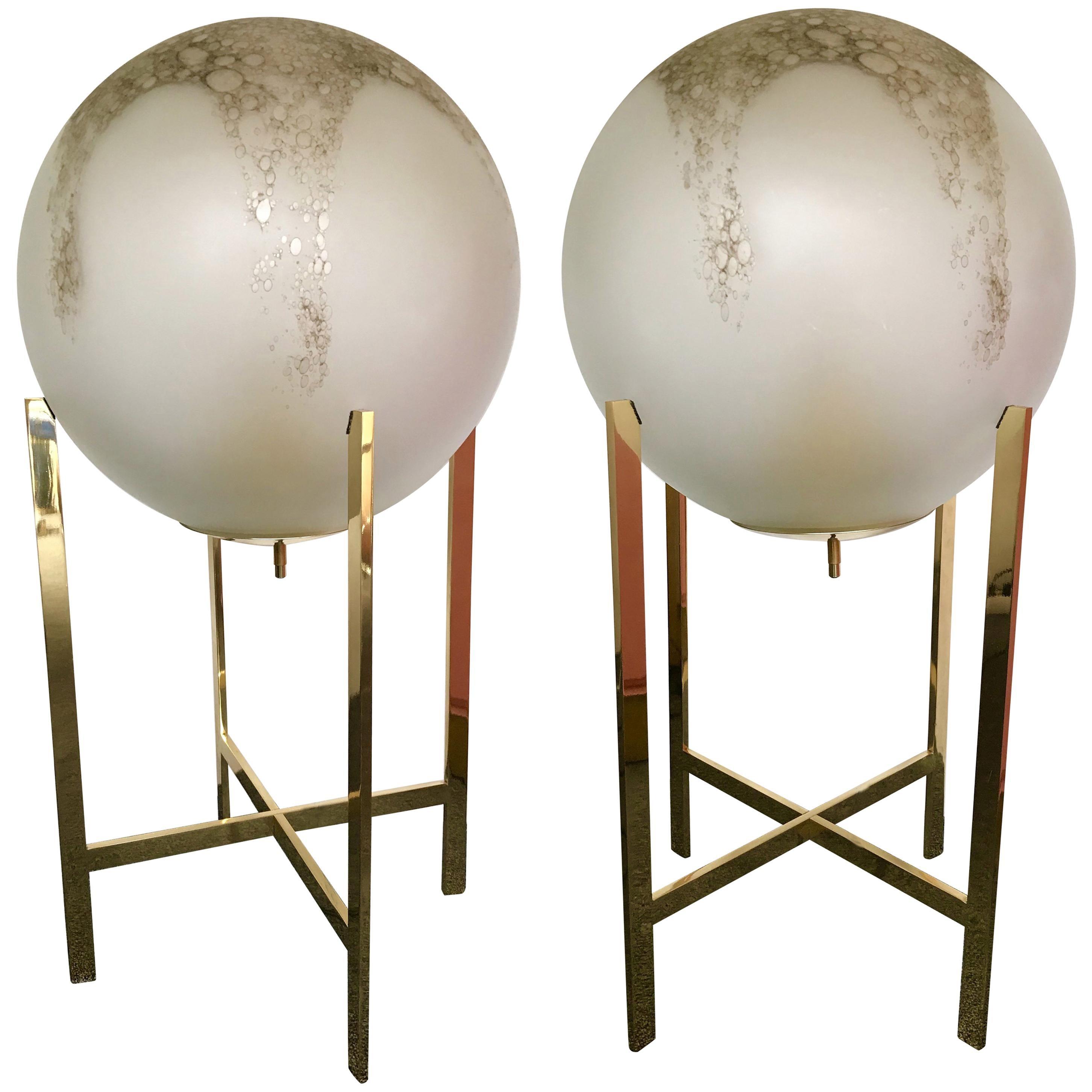 Brass Floor Lamps by La Murrina Murano Glass, Italy, 1990s