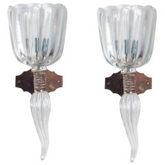 Italian Venetian Sconces, Blown Murano Glass, Iridescent Transpa, Seguso, 1960s