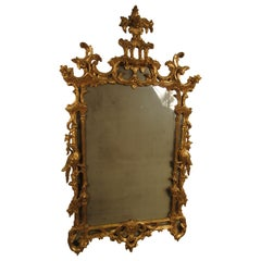 1940s Italian Carved Wood Gilt Chippendale Mirror