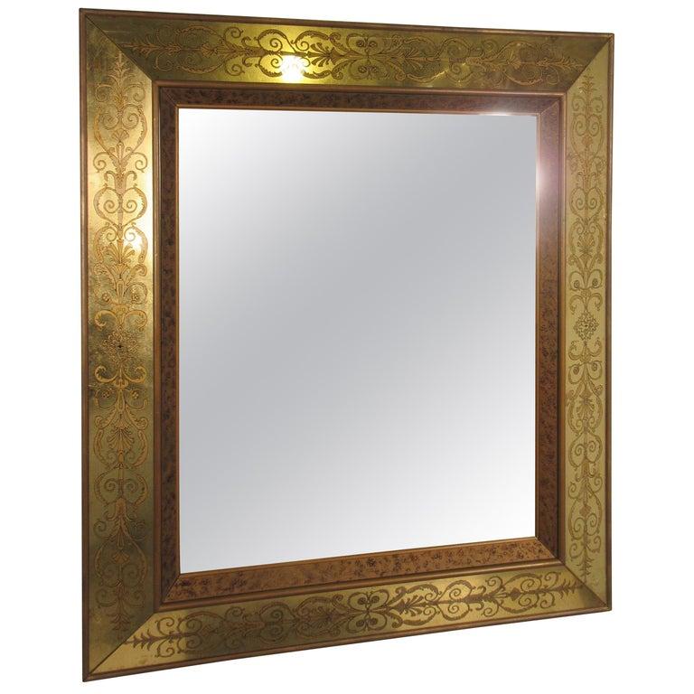 Large 1960s Italian Églomisé Mirror For Sale