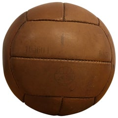 Vintage Brown Leather Medicine Ball, 1kg, 1930s