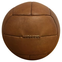 Vintage Brown Leather Medicine Ball, 2kg, 1930s