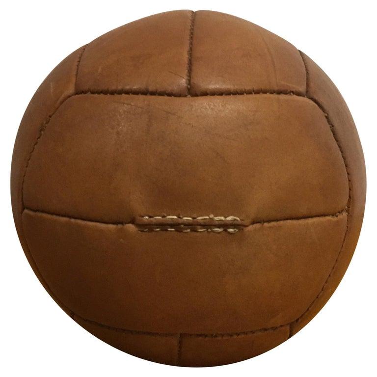 Vintage Brown Leather Medicine Ball, 2kg, 1930s For Sale
