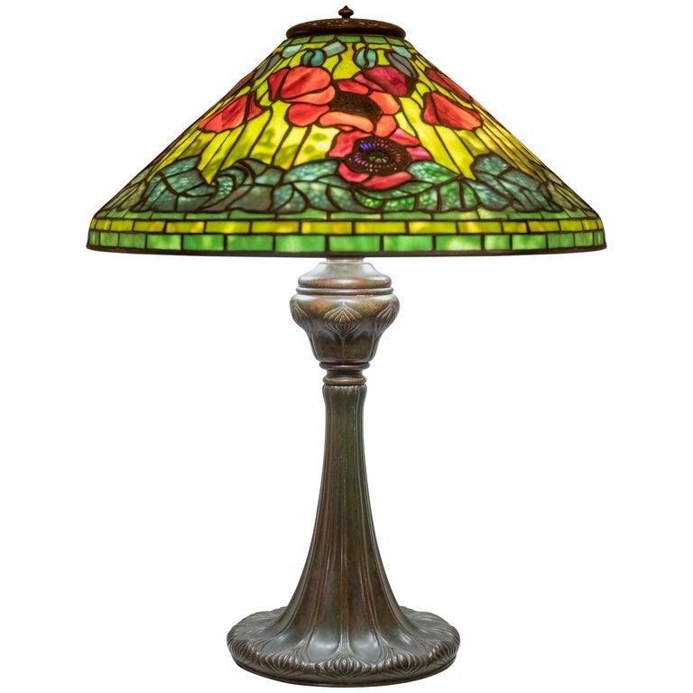 Tiffany Studios Filagree Poppy Table Lamp For Sale