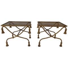 Pair of 1960s Italian Gilt Iron Tassel Benches