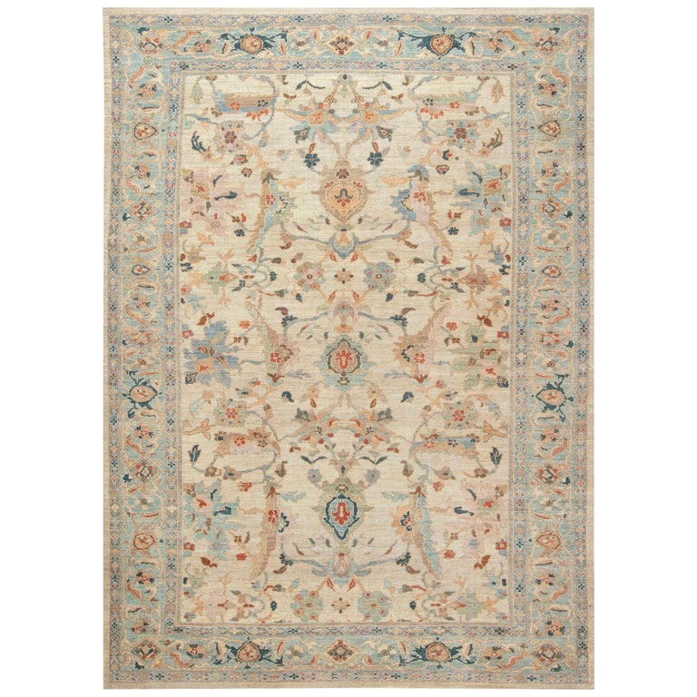Traditional Sultanabad Design Beige, Blue, Brown, Green & Red Rug For Sale