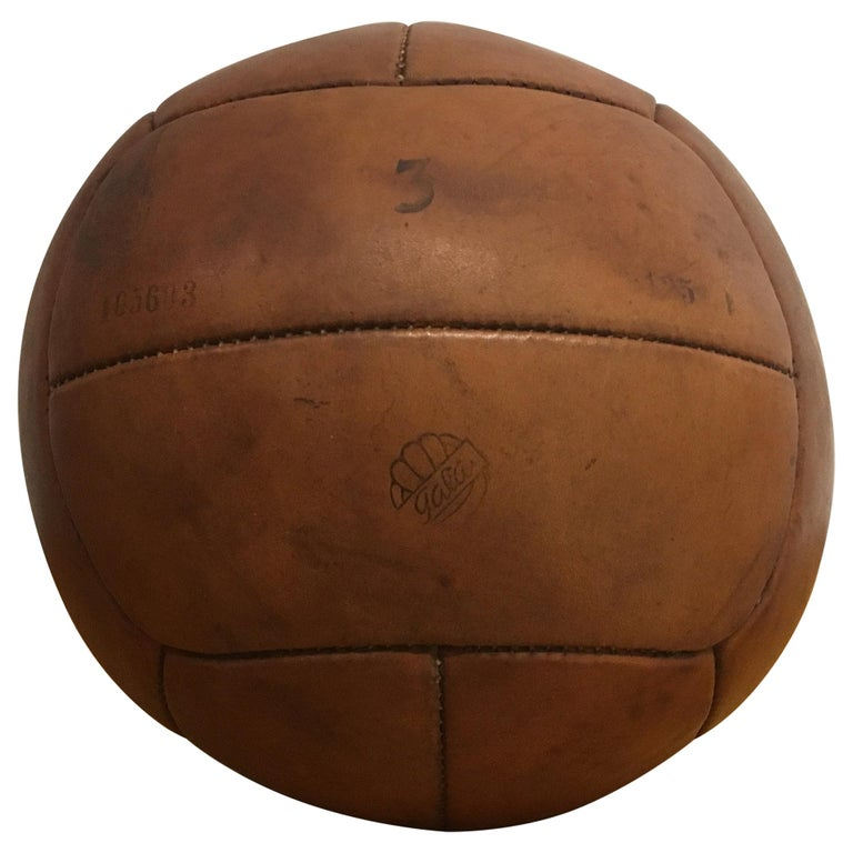 Vintage Brown Leather Medicine Ball, 3kg, 1930s For Sale