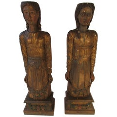 Pair of Large 1840s Venetian Wood Figures from an Italian Theatre