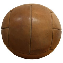 Vintage Brown Leather Medicine Ball, 3kg, 1930s