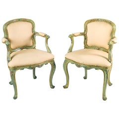 Pair of Italian small armchairs. Venice, 18th century Italy Louis XV lacquered