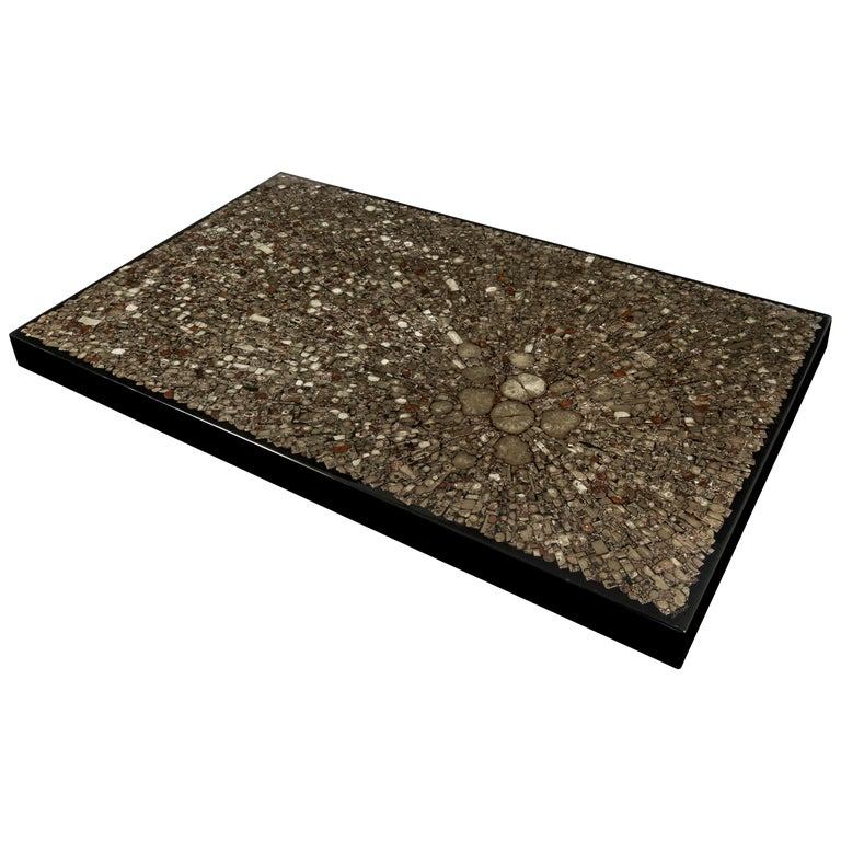 Coffee Table in Black Resin and Marcassite by Jean Claude Dresse For Sale
