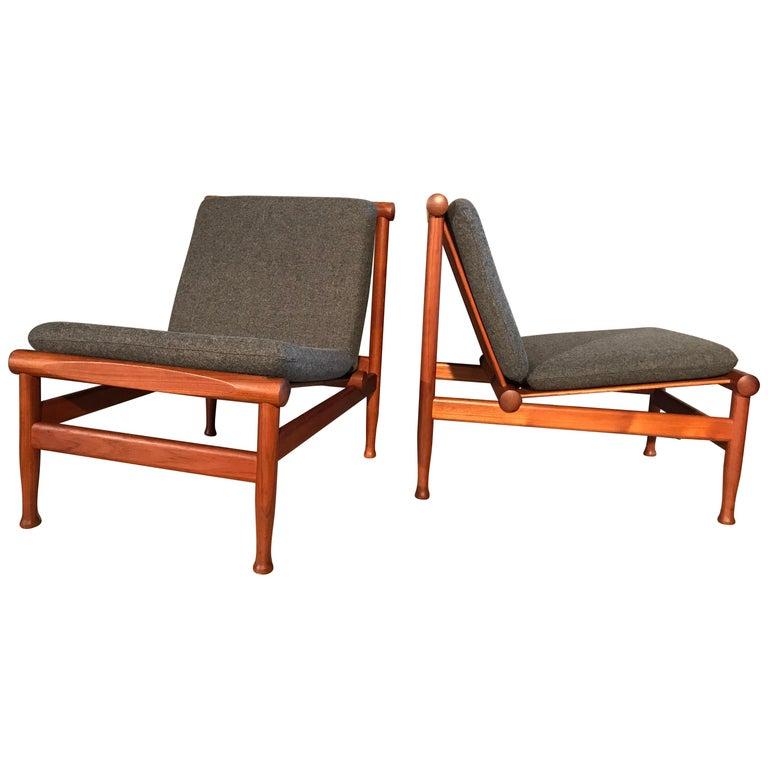 2 Vintage Teak Kai Lyngfeldt Larsen Easy Chairs Model 501 by Søborg Furniture For Sale