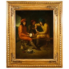 19th Century Antique Oil on Canvas Dutch Interior Scene Painting, 1850