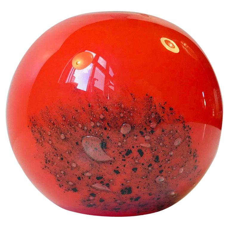 Orange Ball Vase in Czech Art Glass by Frantisek Koudelka, 1970s