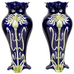 Pair of Early 20th Century French Art Nouveau Vases by J. Bernard De Bruyne