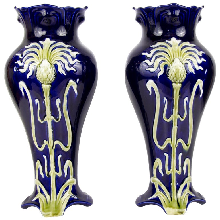 Pair of Early 20th Century French Art Nouveau Vases by J. Bernard De Bruyne For Sale
