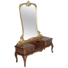 1920s Antique Vanity Baroque Venetian, Beveled Mirror, Hand Carved Walnut & Burl